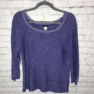 J Crew Pullover Marled 3/4 Sleeve Sweater